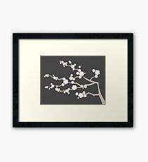 White Oriental Cherry Blossoms | Zen Japanese Sakura Flowers Framed Print
