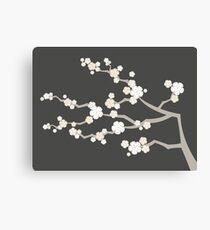 White Oriental Cherry Blossoms | Zen Japanese Sakura Flowers Canvas Print