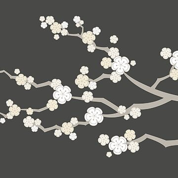 White Oriental Cherry Blossoms | Zen Japanese Sakura Flowers by fatfatin