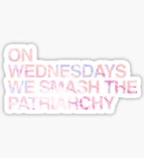 On Wednesdays We Smash the Patriarchy   Marble/Feminist/Hipster Meme Sticker