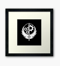 Brotherhood of Steel - White on Black Framed Print