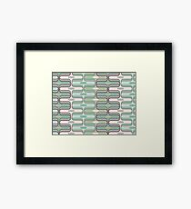 Retro Mod Ogee Pastel Pink & Moss Green Abstract Pod Pattern Framed Print