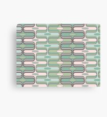 Retro Mod Ogee Pastel Pink & Moss Green Abstract Pod Pattern Canvas Print