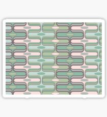 Retro Mod Ogee Pastel Pink & Moss Green Abstract Pod Pattern Sticker