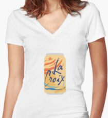 Orange La Croix Women's Fitted V-Neck T-Shirt