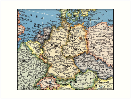 Map Of Old Germany.1951 Old Germany Map Special Gift Ideas Art Prints By Mappendant