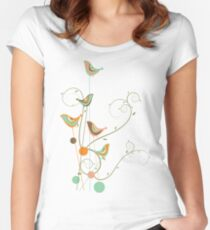 Colorful Whimsical Summer Orange Chocolate and Mint Birds with Swirls Women's Fitted Scoop T-Shirt