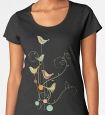 Colorful Whimsical Summer Orange Chocolate and Mint Birds with Swirls Women's Premium T-Shirt