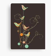 Colorful Whimsical Summer Orange Chocolate and Mint Birds with Swirls Canvas Print