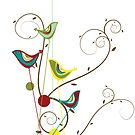 Colorful Whimsical Red Teal and Yellow Summer Birds with Swirls by fatfatin