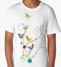 Colorful Whimsical Red Teal and Yellow Summer Birds with Swirls Long T-Shirt