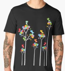 Colorful Whimsical Tweet Birds On White Branches Men's Premium T-Shirt