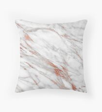 Rose Gold And White Marble Pattern Throw Pillow
