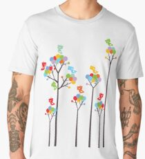 Colorful Tweet Birds On Dotted Trees With Dark Branches Men's Premium T-Shirt