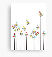 Colorful Tweet Birds On Dotted Trees With Dark Branches Canvas Print