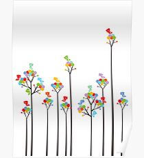 Colorful Tweet Birds On Dotted Trees With Dark Branches Poster
