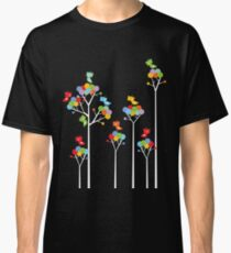 Colorful Whimsical Tweet Birds On White Branches Classic T-Shirt
