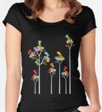 Colorful Whimsical Tweet Birds On White Branches Women's Fitted Scoop T-Shirt