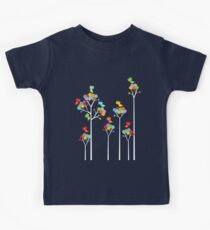 Colorful Whimsical Tweet Birds On White Branches Kids Clothes