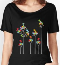 Colorful Whimsical Tweet Birds On White Branches Women's Relaxed Fit T-Shirt
