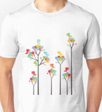 Colorful Tweet Birds On Dotted Trees With Dark Branches T-Shirt