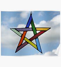 Multi-Coloured Pentagram Poster