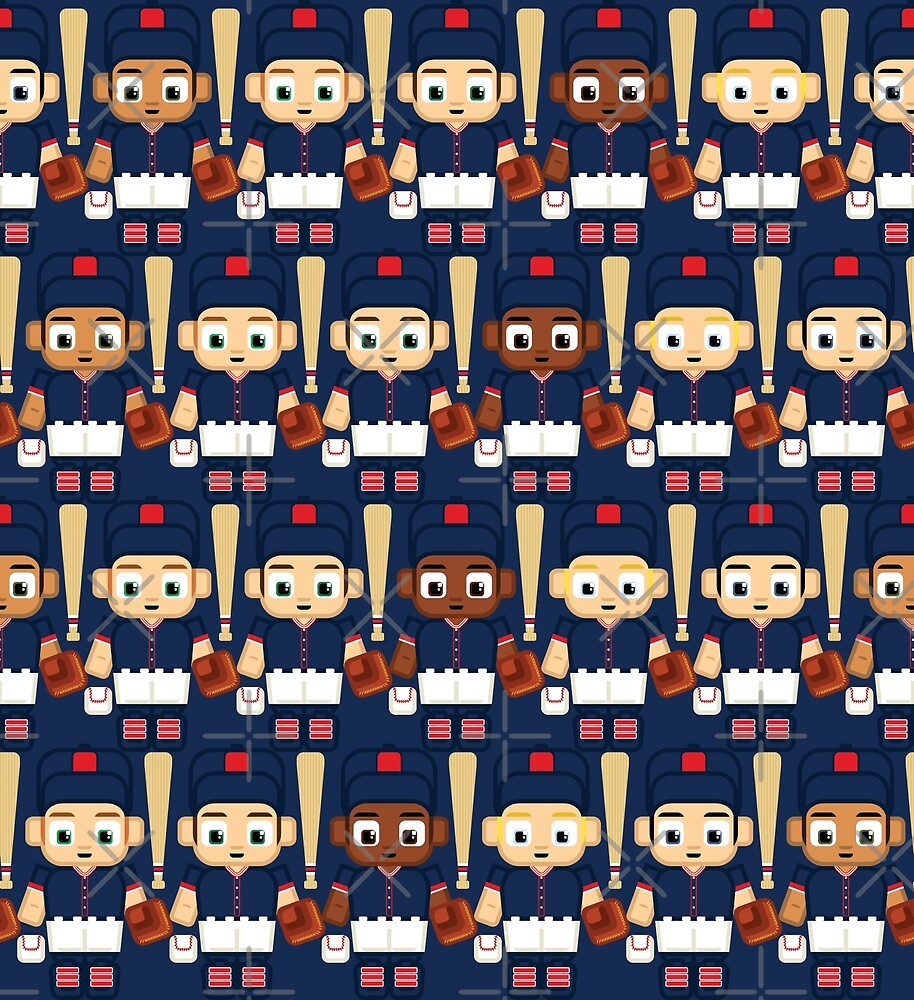 Baseball Navy, White and Red - Super cute sports stars by boxedspaper