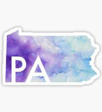 Watercolor Pennsylvania with Initials Sticker