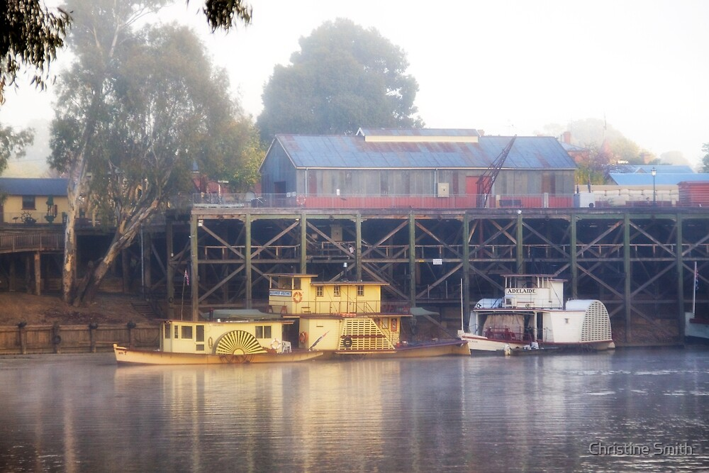 Foggy Morning at the Port of Echuca, Victoria by Christine Smith