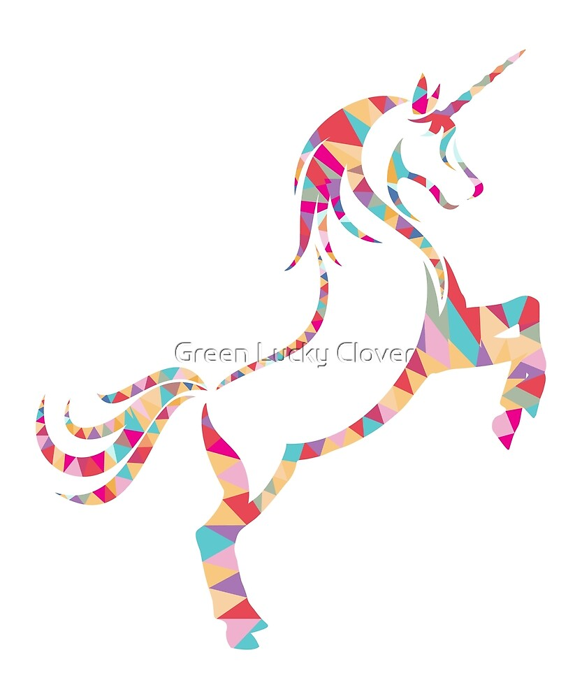 Geometric Magical Unicorn by Green Lucky Clover
