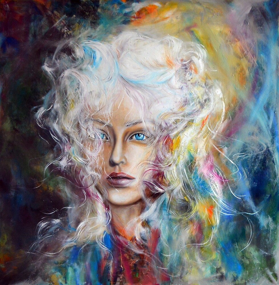 Let the fire burn the ice, 100-100 cm, 2017, oil on canvas by oanaunciuleanu