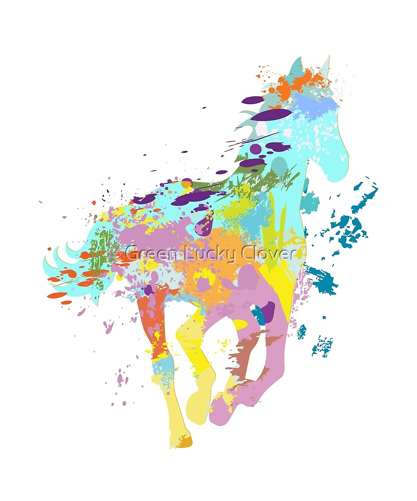 Colorful Splash Paint Horse by Green Lucky Clover