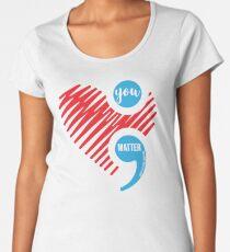 Suicide Prevention Depression Awareness Heart and Semi Colon Women's Premium T-Shirt