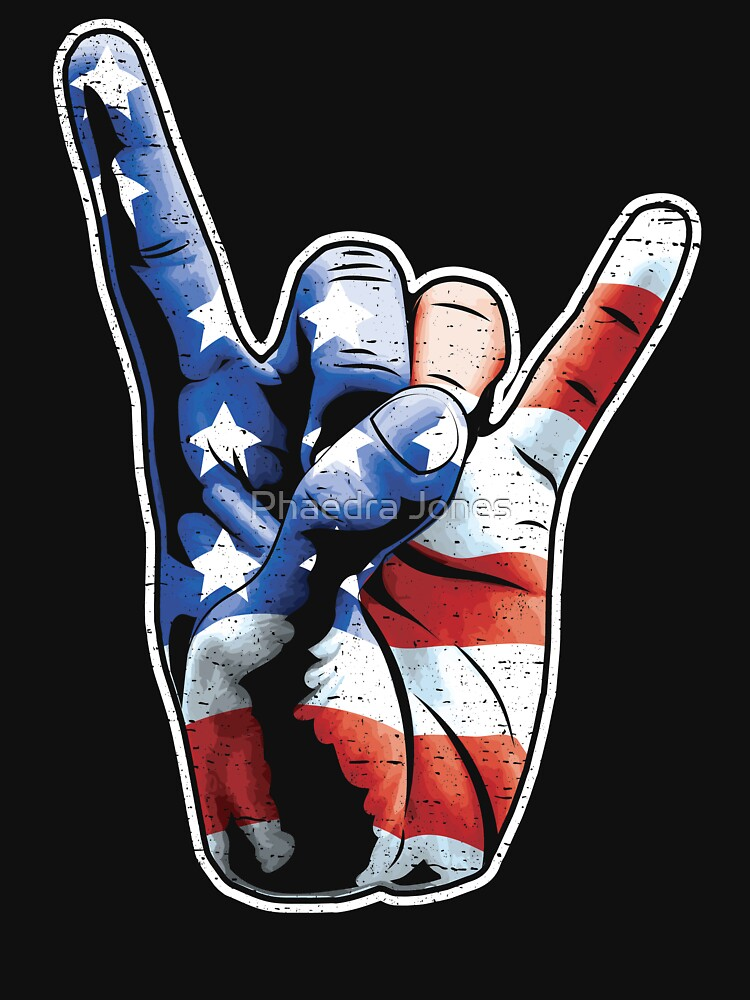 American Flag Rock Out Devil Horns USA Hand by Top10Merch