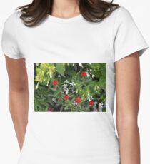 Small red flowers in the garden Women's Fitted T-Shirt