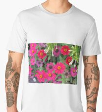 Natural background with pink and purple flowers and green leaves  Men's Premium T-Shirt