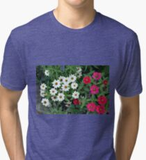 Beautiful small white and pink flowers  Tri-blend T-Shirt