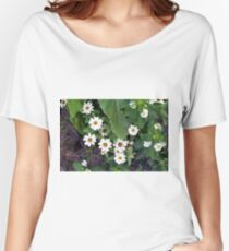 Small white cute flowers and green leaves  Women's Relaxed Fit T-Shirt