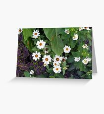 Small white cute flowers and green leaves  Greeting Card