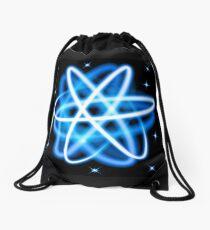 Vector glow neon light atom model Drawstring Bag