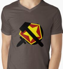 HAMMER  SICKLE AND RED STAR Men's V-Neck T-Shirt