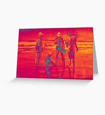 Group of people at the beach, painting in red orange colors  Greeting Card