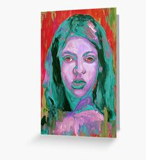 Colorful painting portrait of girl  Greeting Card