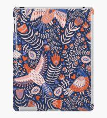 Swedish folk art birds on dark blue iPad Case/Skin