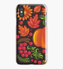 Pumpkin with flowers in Ukrainian style iPhone Case/Skin