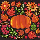 Pumpkin with flowers in Ukrainian style by Anastasiia Kucherenko