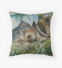 The Gardeners Friend.  British Hedgehog Throw Pillow