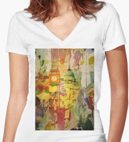 London Splatter Fitted V-Neck T-Shirt