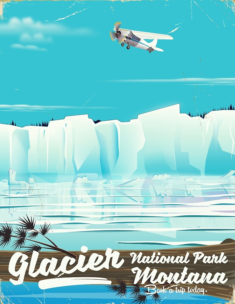 Glacier National Park, Montana vintage poster. by vectorwebstore