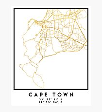 CAPE TOWN SOUTH AFRICA CITY STREET MAP ART Photographic Print